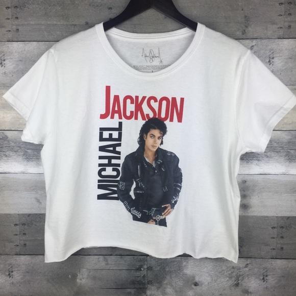 Michael Jackso Tops - Michael Jackson Crop Top Graphic Tee Juniors